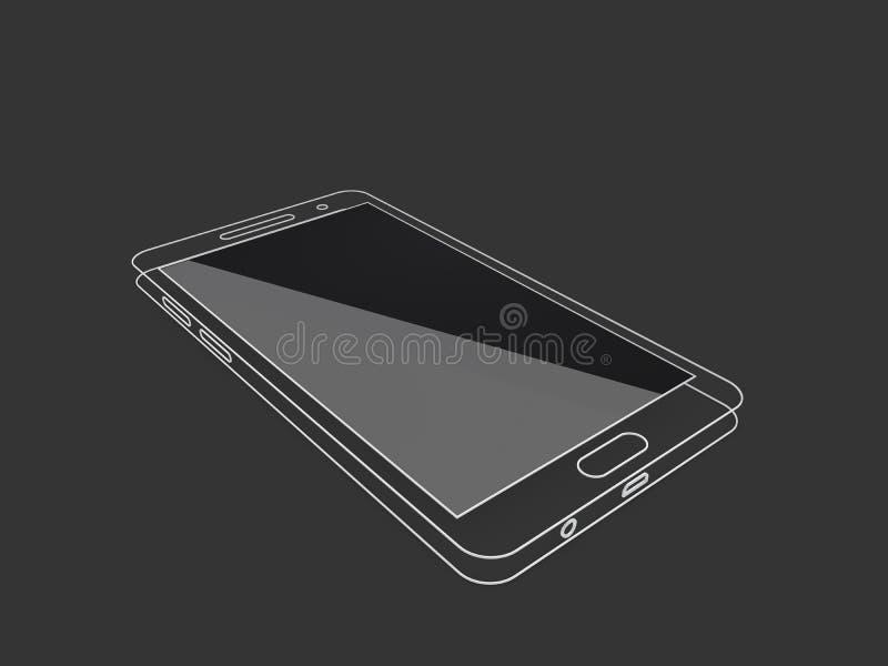ilustração 3d do molde do esboço do telefone com tela preta Limpe o telefone celular linear do modelo ilustração do vetor