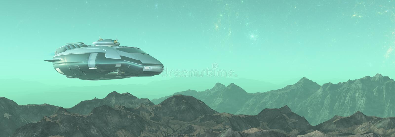 ilustração 3D do mundo estrangeiro no espaço com nebulosa e estrelas nave espacial no planeta estrangeiro foto de stock royalty free