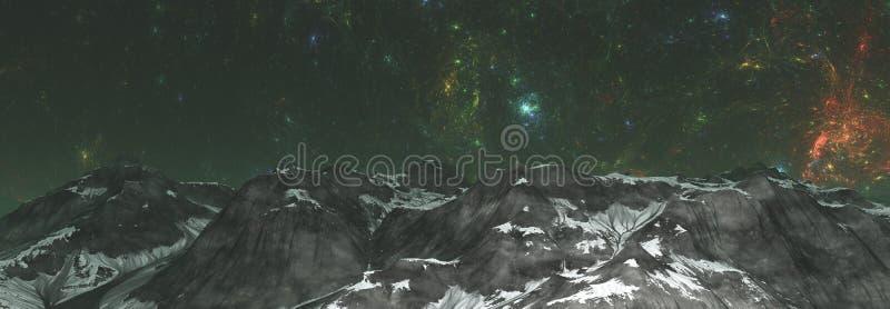 ilustração 3D do mundo estrangeiro no espaço com nebulosa e estrelas planeta no espaço, superfície de um planeta estrangeiro no e foto de stock