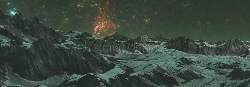 ilustração 3D do mundo estrangeiro no espaço com nebulosa e estrelas planeta no espaço, superfície de um planeta estrangeiro no e imagem de stock royalty free