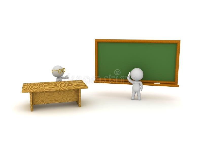 ilustração 3D do professor e do estudante na sala de aula ilustração do vetor