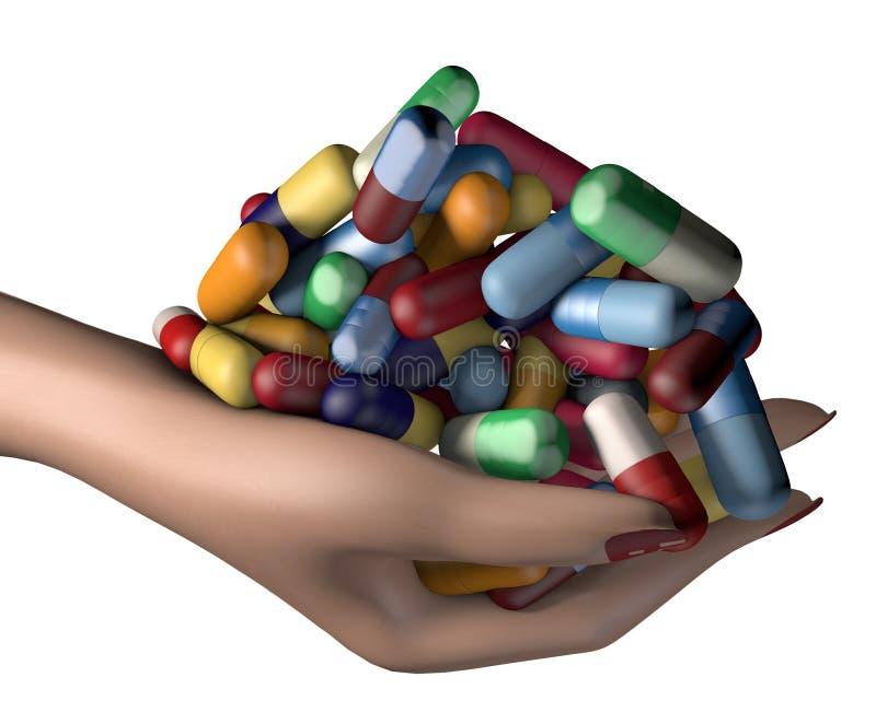 ilustração 3d do punhado da terra arrendada da mão da mulher de comprimidos da medicina da droga imagem de stock royalty free