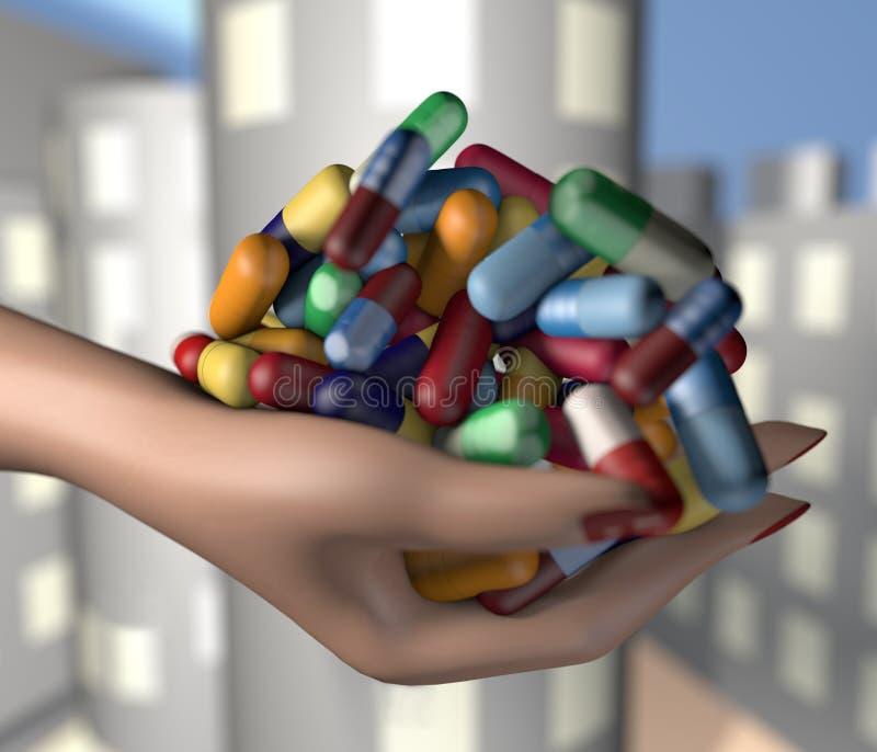 ilustração 3d do punhado da terra arrendada da mão da mulher de comprimidos da medicina da droga foto de stock royalty free