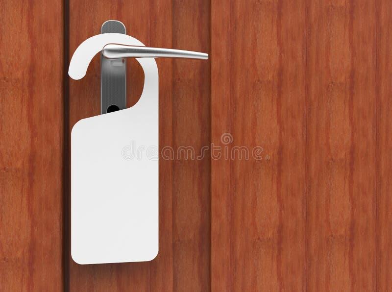 ilustração 3D do quadro indicador de papel que pendura em um punho da porta ilustração stock