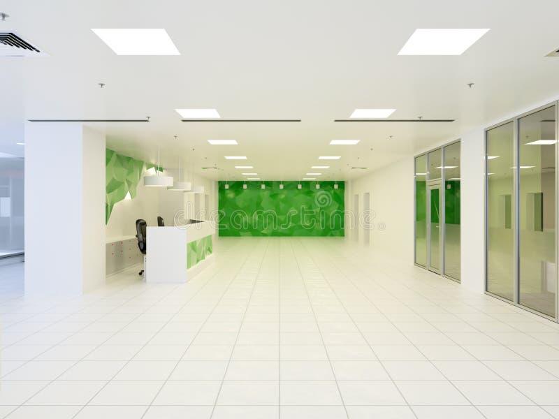 ilustração 3d do salão moderno abstrato no prédio de escritórios ilustração stock