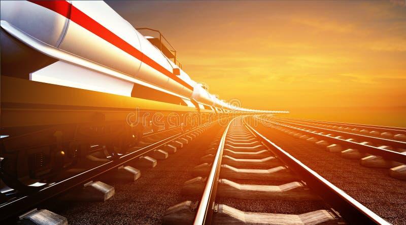 ilustração 3d do trem de mercadorias com os reservatórios do óleo nos vagabundos do céu ilustração do vetor
