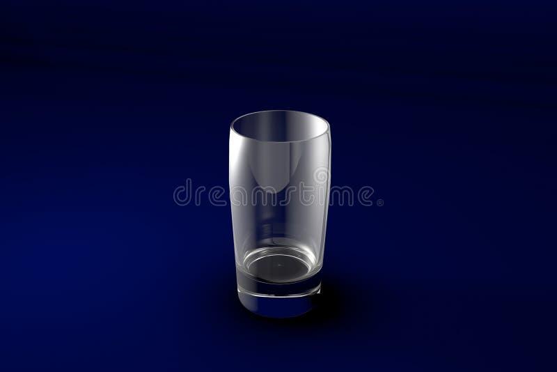 ilustração 3D do vidro ordinário das bebidas sem álcool - fundo azul do projeto - no vidro bebendo escuro para render ilustração royalty free