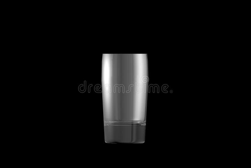 ilustração 3D do vidro ordinário isolado na vista lateral preta - vidro bebendo das bebidas sem álcool para render ilustração stock