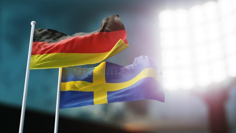 ilustração 3D Duas bandeiras nacionais que acenam no vento Estádio da noite Campeonato 2018 Futebol Alemanha contra a Suécia ilustração stock
