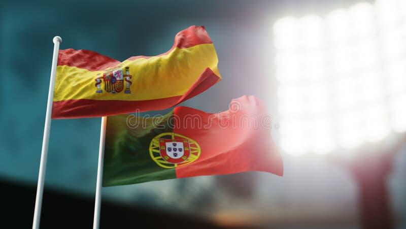 ilustração 3D Duas bandeiras nacionais que acenam no vento Estádio da noite Campeonato 2018 Futebol Espanha contra Portugal ilustração stock