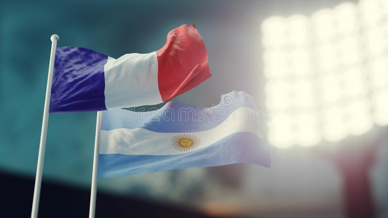 ilustração 3D Duas bandeiras nacionais que acenam no vento Estádio da noite Campeonato 2018 Futebol França contra Argentina ilustração royalty free