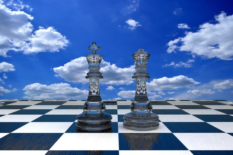 Ilustração 3D duas peças de xadrez de vidro contra um céu azul ilustração royalty free
