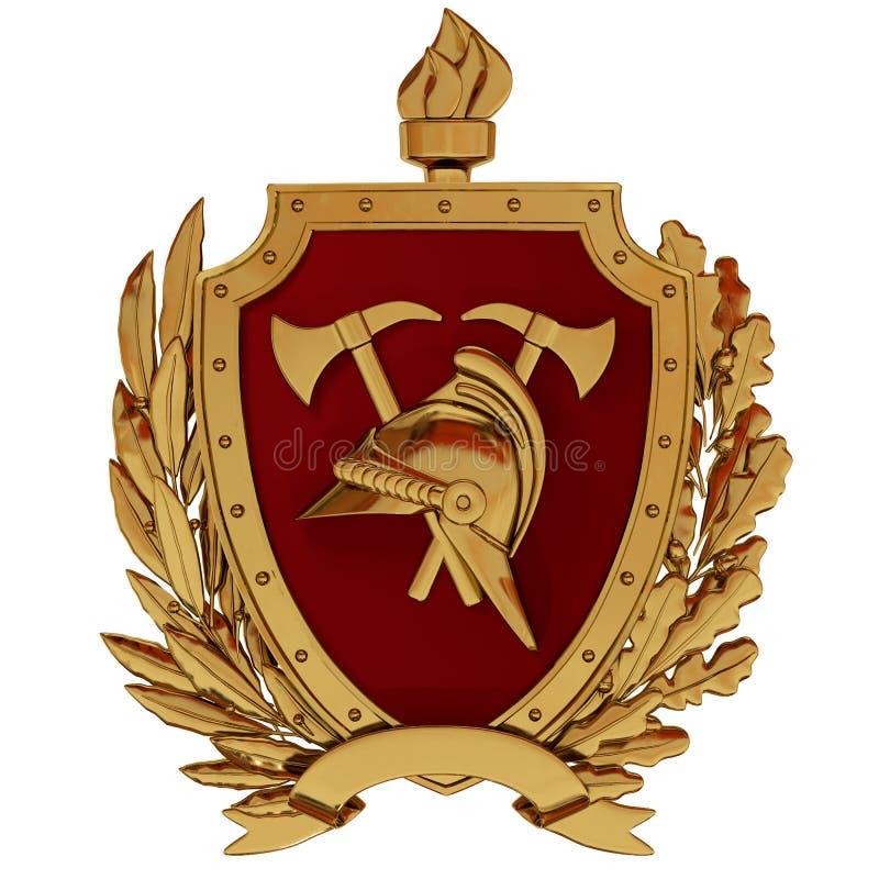 ilustração 3D Emblema dos sapadores-bombeiros Capacete do vintage do ouro, machados, protetor vermelho, tocha, ramos de oliveira ilustração stock
