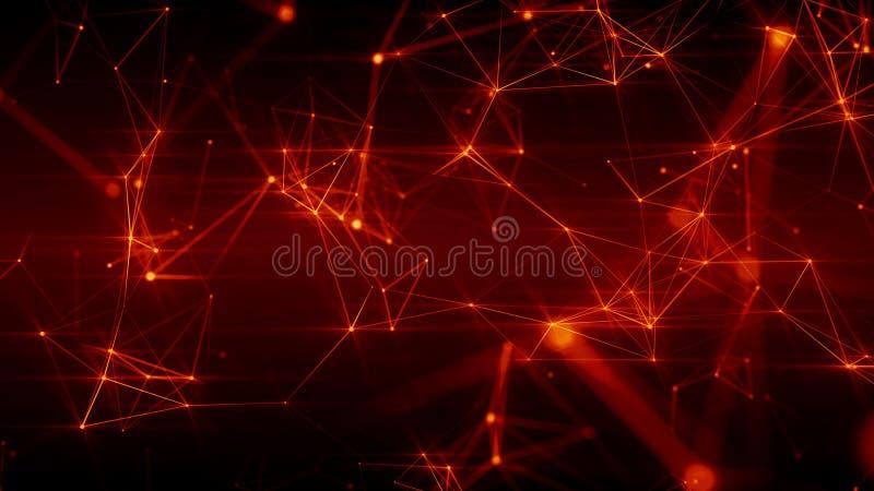 Ilustração 3D futurista abstrata da superfície vermelha impetuosa com pontos de conexão ilustração do vetor