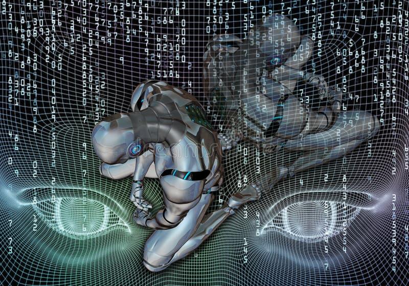 Ilustração 3d gerada por computador artística abstrata de um robô deprimido em uma arte finala de fluência da cabeça da inteligên ilustração royalty free