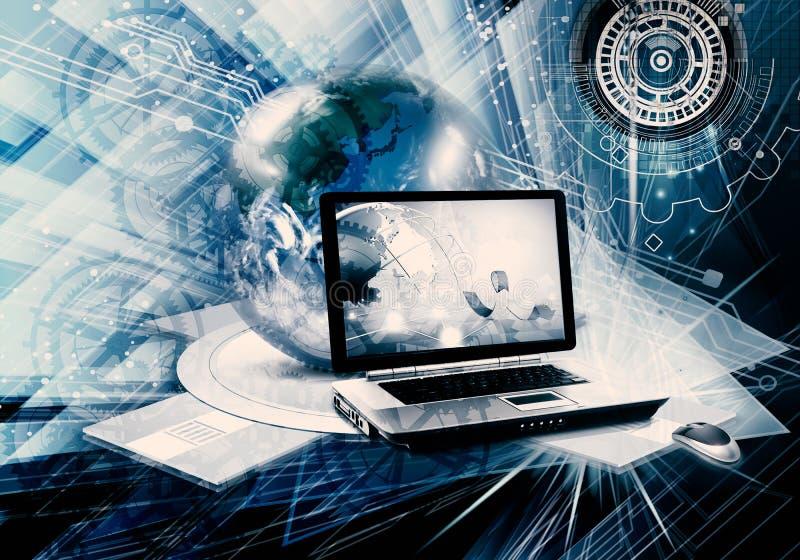 Ilustração 3d gerada por computador colorida abstrata de um portátil e de um globo como um fundo moderno da arte finala ilustração do vetor