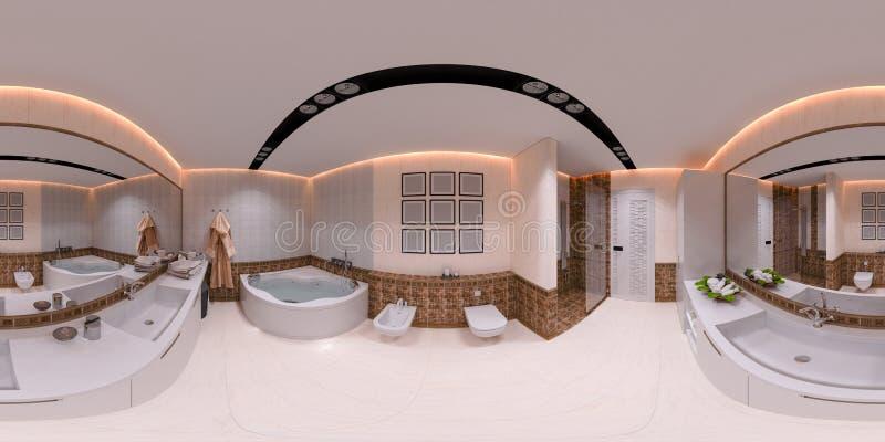 ilustração 3d 360 graus de panorama do banheiro ilustração royalty free