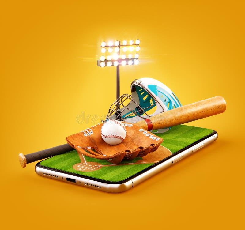 Ilustração 3d incomum de um estádio de basebol com bastão, capacete, luva de beisebol e bola em uma tela do smartphone ilustração royalty free