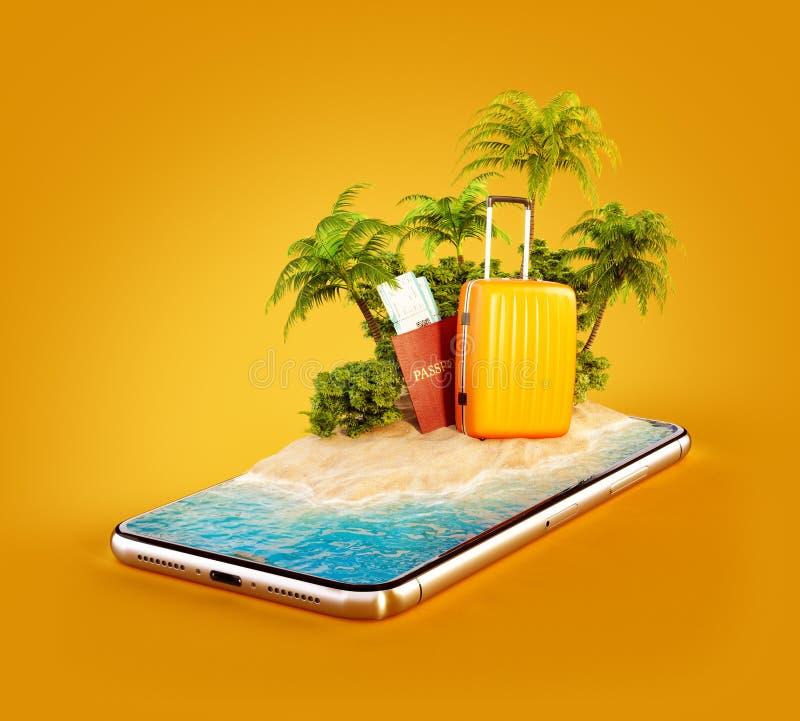 Ilustração 3d incomum de uma ilha tropical com palmeiras, mala de viagem e passaporte em uma tela do smartphone ilustração do vetor
