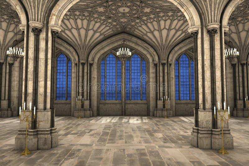Ilustração 3d interior da catedral gótico ilustração royalty free
