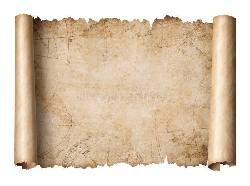 Ilustração 3d isolada do mapa do tesouro rolo velho fotografia de stock royalty free