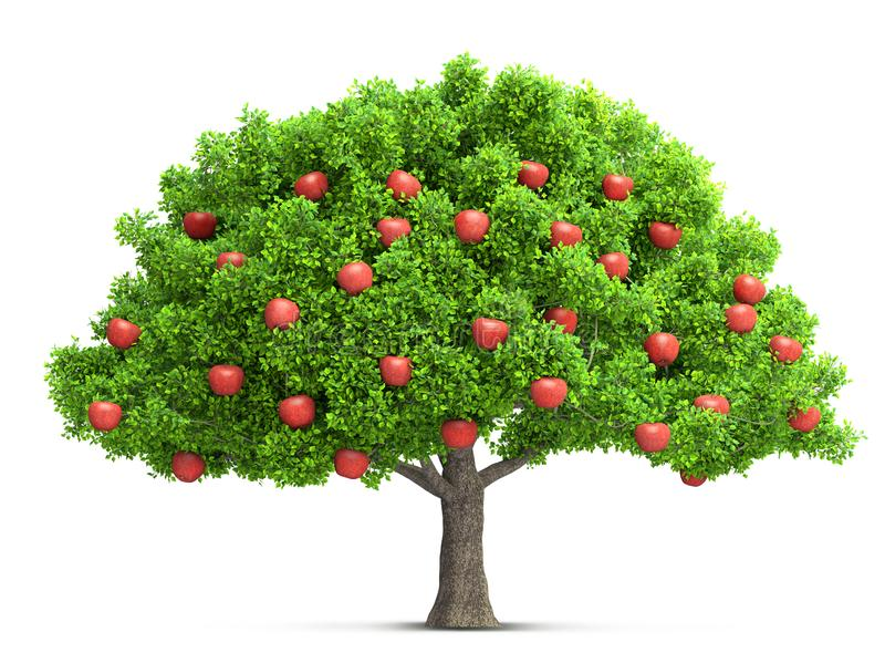 Ilustração 3D isolada vermelha da árvore de maçã ilustração royalty free