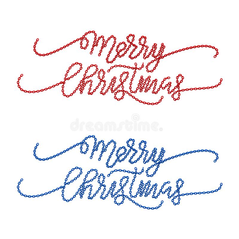 a ilustração 3D isolou duas palavras do Feliz Natal do azul ilustração stock