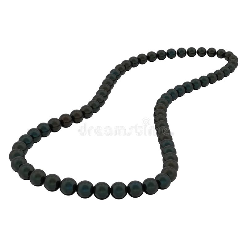 a ilustração 3D isolou grânulos pretos da colar da pérola em um b branco ilustração stock