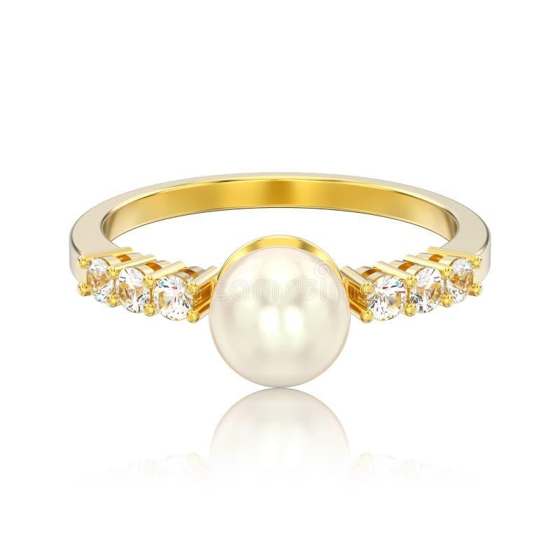 a ilustração 3D isolou o anel de diamante do ouro amarelo com sagacidade da pérola ilustração stock
