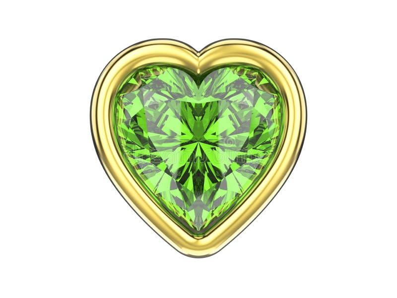 a ilustração 3D isolou o coração esmeralda verde do diamante no ouro ilustração royalty free