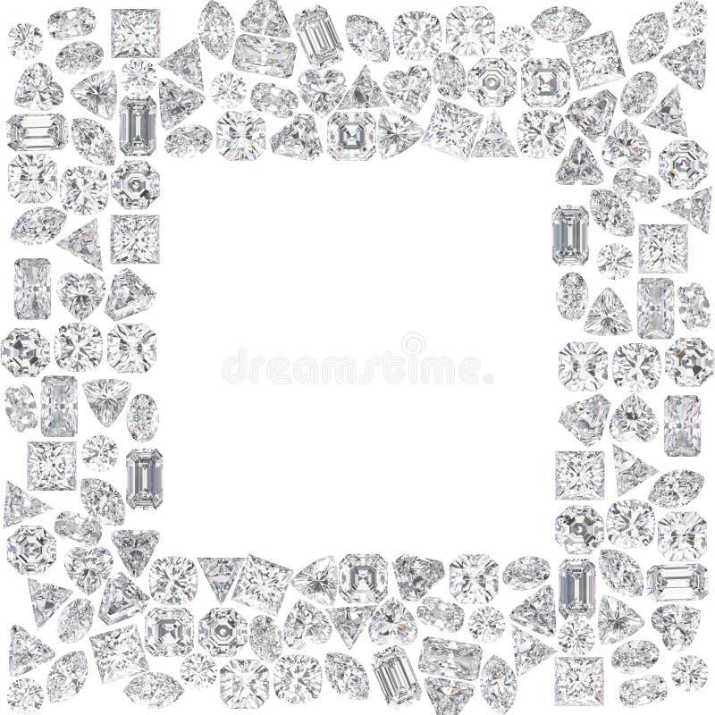 a ilustração 3D isolou o grupo de quadro quadrado dos diamantes ilustração stock