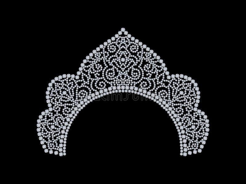 a ilustração 3D isolou o kokoshnik da tiara da coroa do diamante com glit ilustração stock