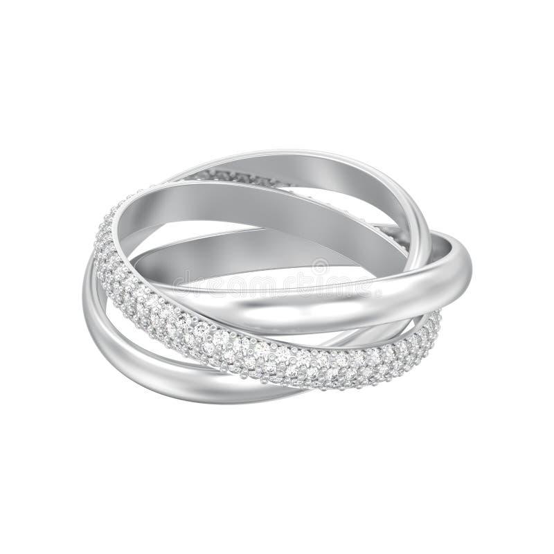 a ilustração 3D isolou o ouro branco ou a prata três decorativos i ilustração royalty free