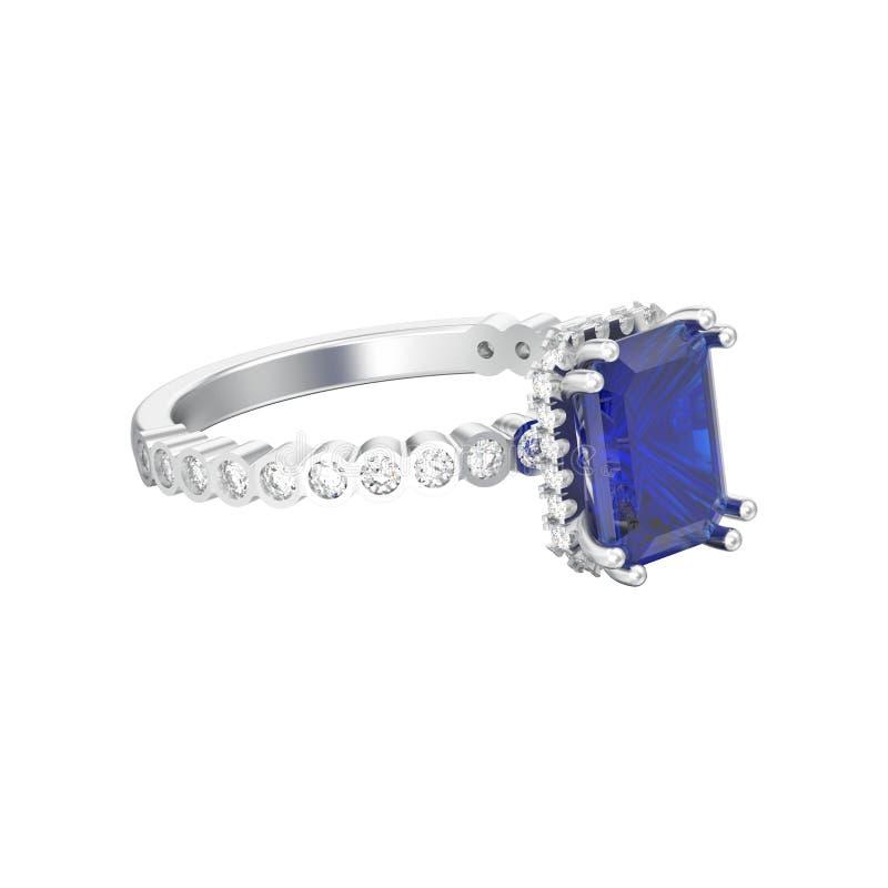 a ilustração 3D isolou o sapp do azul dos diamantes do ouro branco ou da prata ilustração stock