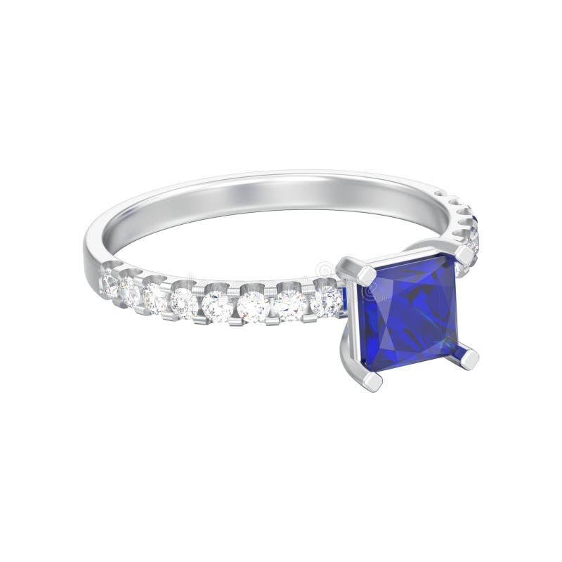 a ilustração 3D isolou o sapp do azul dos diamantes do ouro branco ou da prata ilustração royalty free