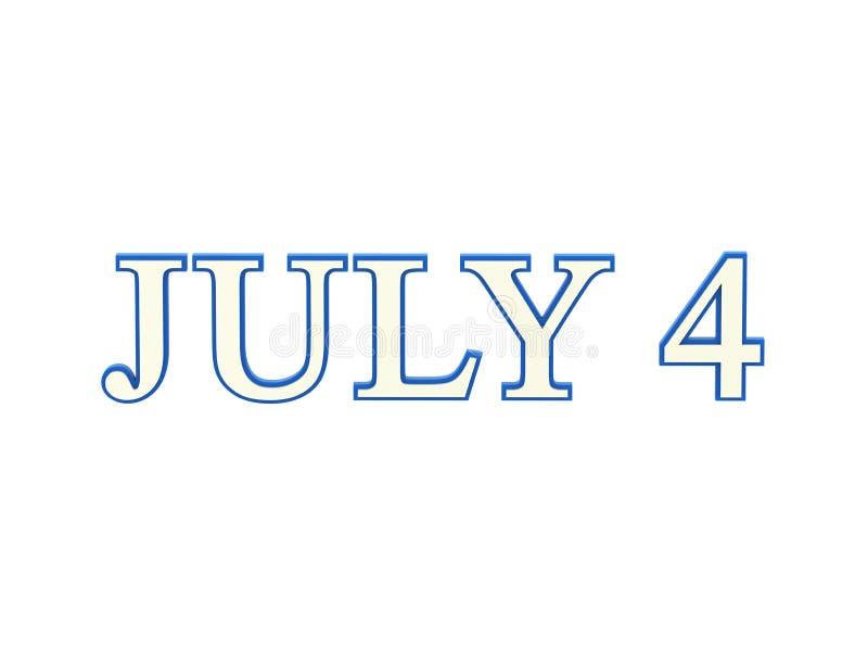 a ilustração 3D isolou o texto 4 azul e branco de quatro julho ilustração stock