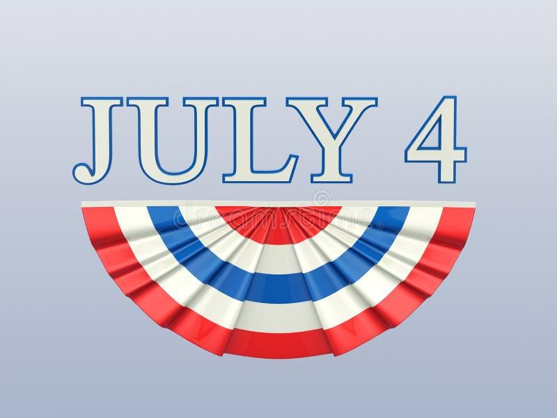 a ilustração 3D isolou o texto 4 quatro julho com vermelho azul fl branco ilustração stock