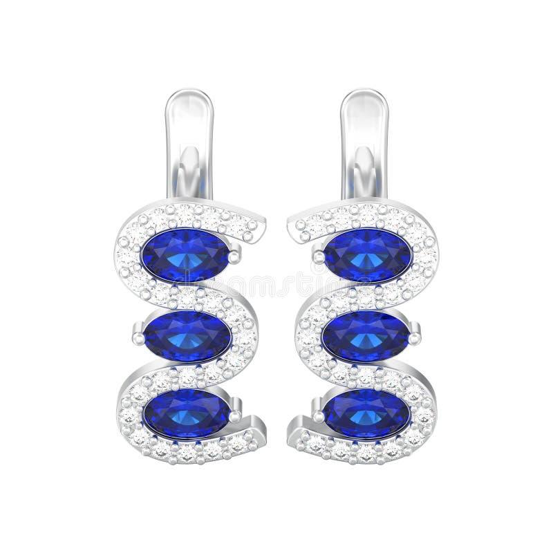 a ilustração 3D isolou os brincos azuis w da safira do diamante de prata ilustração royalty free