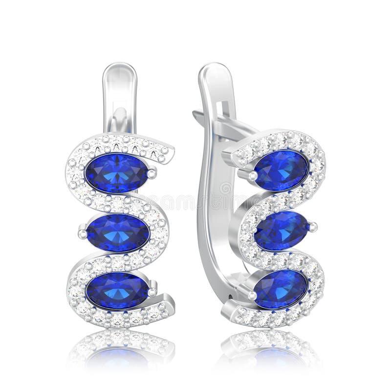 a ilustração 3D isolou os brincos azuis w da safira do diamante de prata ilustração stock
