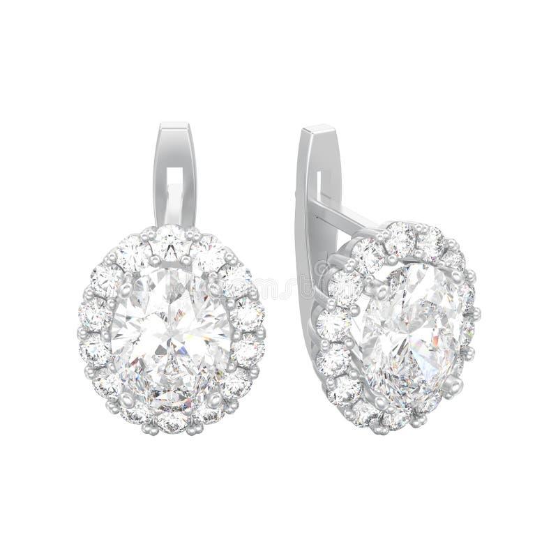 a ilustração 3D isolou os brincos w do diamante do ouro branco ou da prata ilustração do vetor
