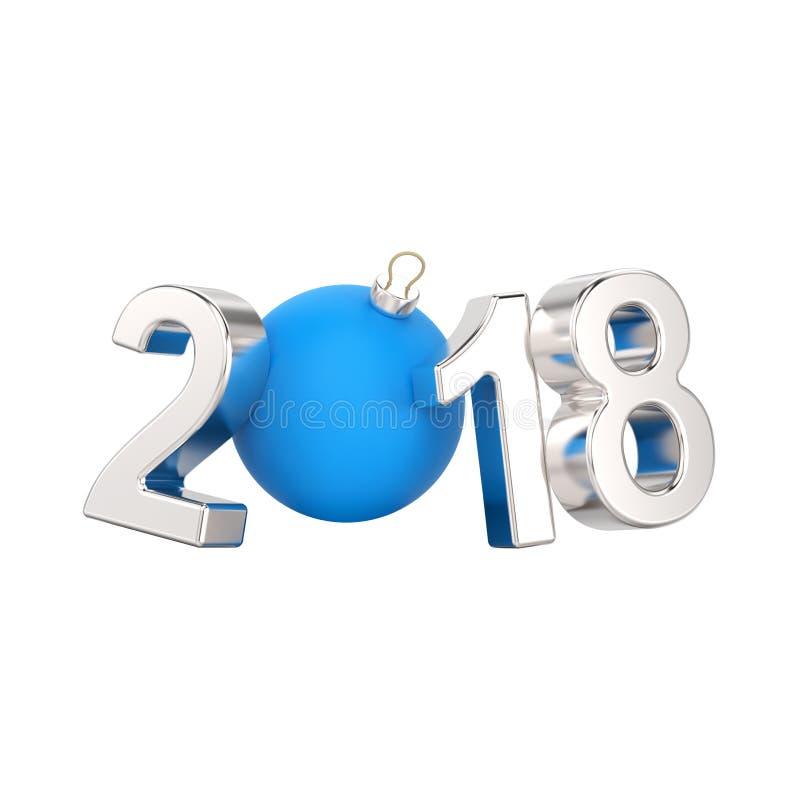 a ilustração 3D isolou os números de prata do ano novo 2018 e um azul ilustração do vetor
