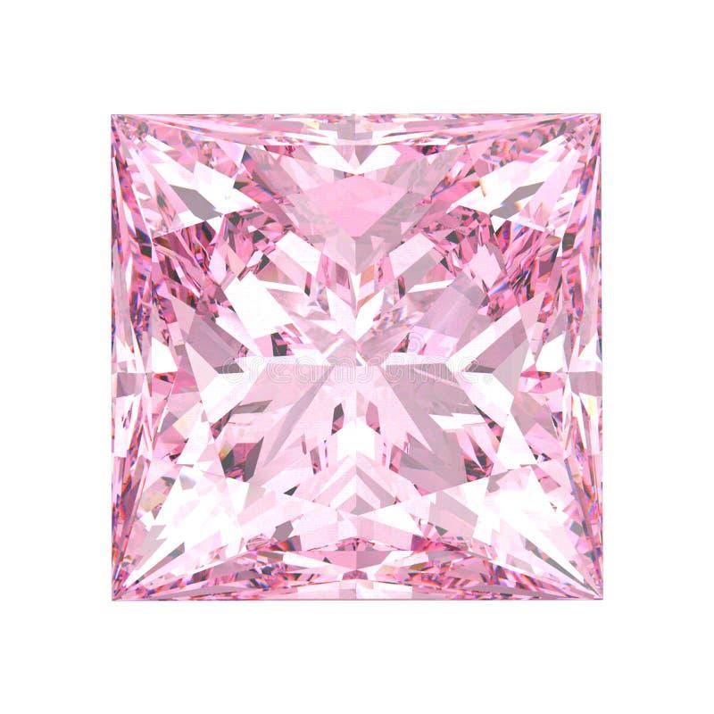 a ilustração 3D isolou a pedra cor-de-rosa do diamante do quadrado da princesa sobre ilustração stock