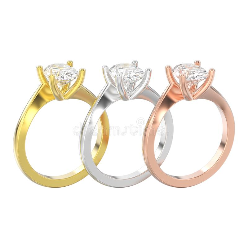 a ilustração 3D isolou três amarelo, ouro cor-de-rosa e branco ou si ilustração do vetor