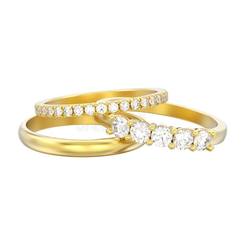 a ilustração 3D isolou um ri diferente de três diamantes do ouro amarelo ilustração royalty free