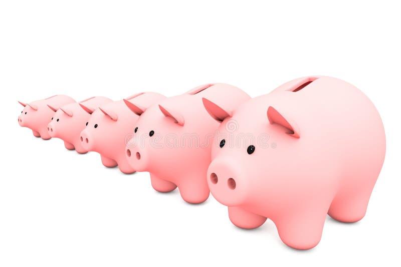 ilustração 3d: linha de mealheiro cor-de-rosa em um fundo branco varie de mais menor à caixa de dinheiro cinco a maior para moeda ilustração royalty free