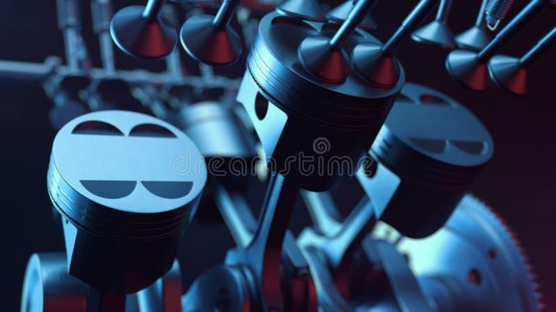 ilustração 3d motor a combustão interna Peças de motor, eixo de manivela, pistões, sistema de fornecimento de combustível Motor V imagens de stock royalty free