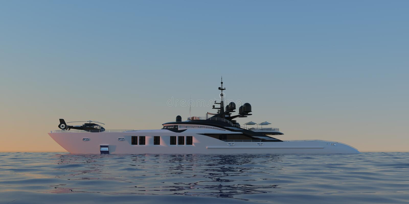 Ilustração 3d photorealistic de alta resolução extremamente detalhada e realística de um iate super luxuoso ilustração royalty free