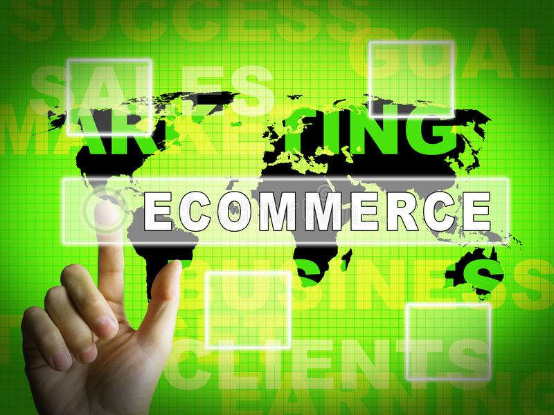 Ilustração 3d portal do mercado virtual da plataforma do comércio eletrónico ilustração royalty free