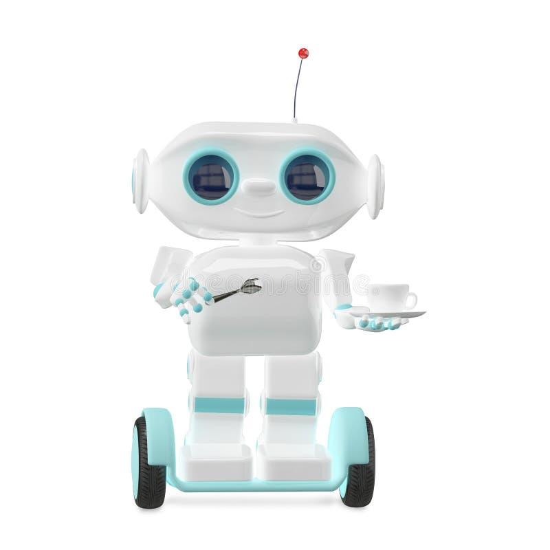 ilustração 3D pouco robô com café ilustração do vetor