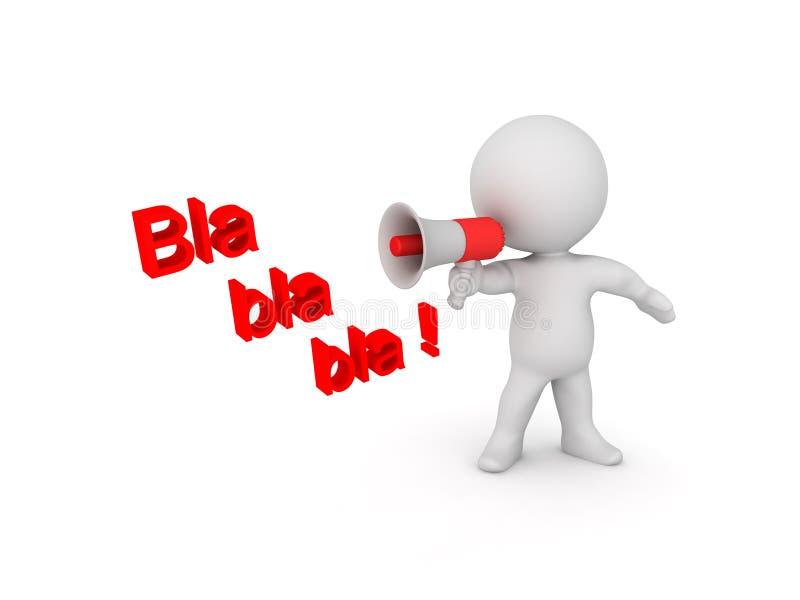 ilustração 3D que descreve uma pessoa que diz o absurdo no altifalante ilustração stock